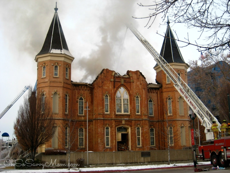 Provo Tabernacle fire from University Ave.