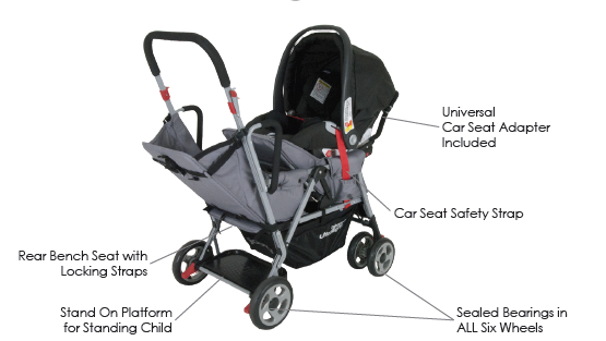 Joovy Caboose Ultralight Too with infant seat