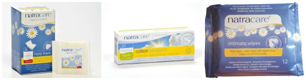 Natracare panty liners, tampons, wipes