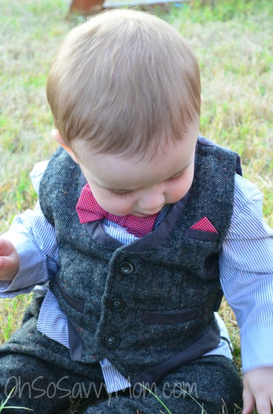 Baby wearing Mamas and Papas vest and pants outfit