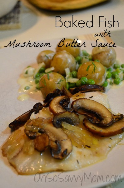 Baked fish with Mushroom Butter Sauce