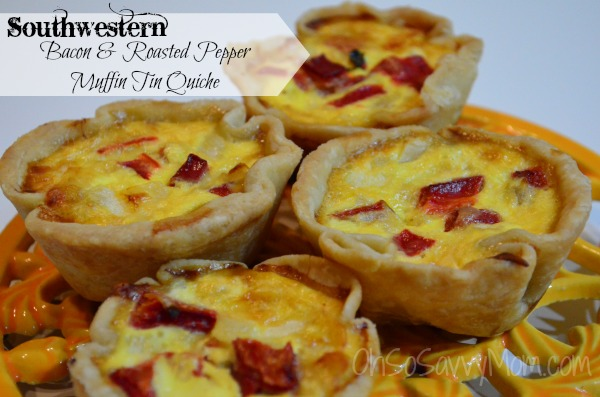 southwestern Bacon and Roasted Red Pepper quiche