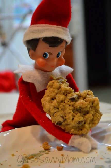 Elf on the Shelf eating a cookie