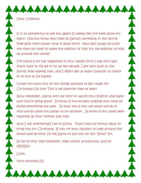 Printable Elf on the shelf letter