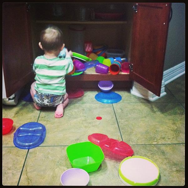 Baby Z making a mess