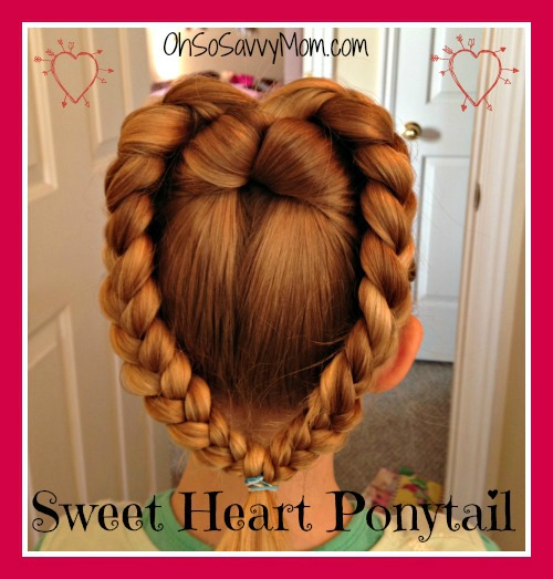 Valentine's Day hairstyle for little girls - Sweet Heart Ponytail