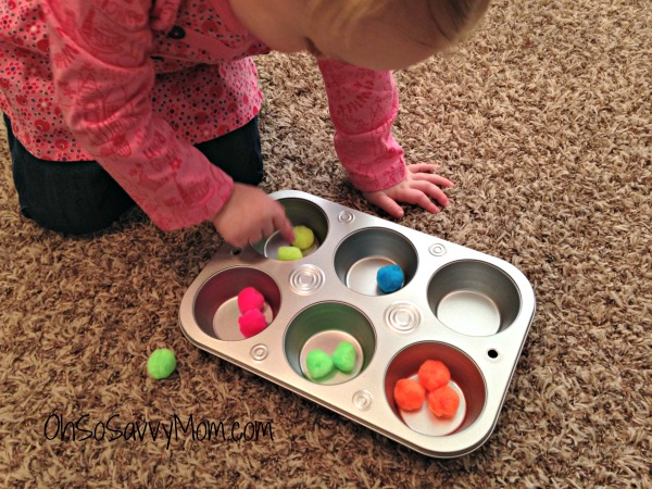 muffin tin sorting game for toddlers