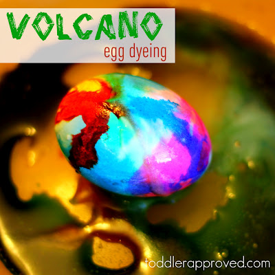 Kid and Toddler Friendly Easter Egg ideas, Volcano Easter Egg dyeing