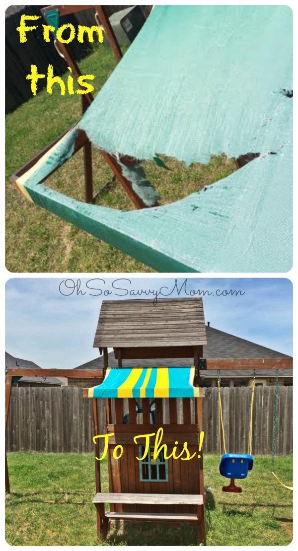DIY Swing Set Canopy replacement - Fix your swing set awing for $5 in 20 minutes & Easy DIY Swing Set Canopy Replacement - Oh So Savvy Mom