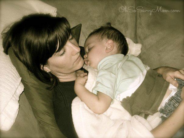 Mom and baby sleeping - motherhood