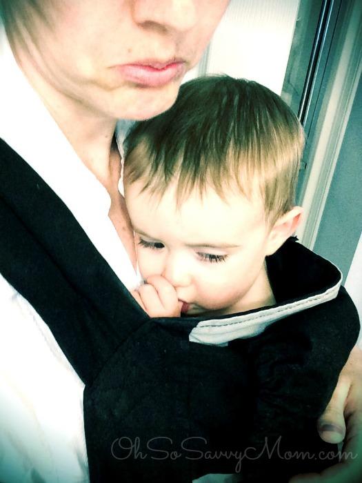 babywearing a sad, sick baby