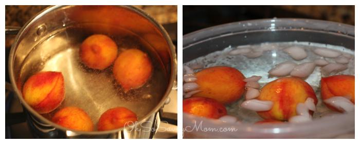 preparing peaches for pie