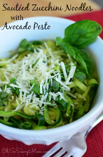 Sauteed Zucchini Noodles with Avocado Pesto