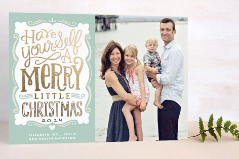 Minted holiday card designs - foil pressed card
