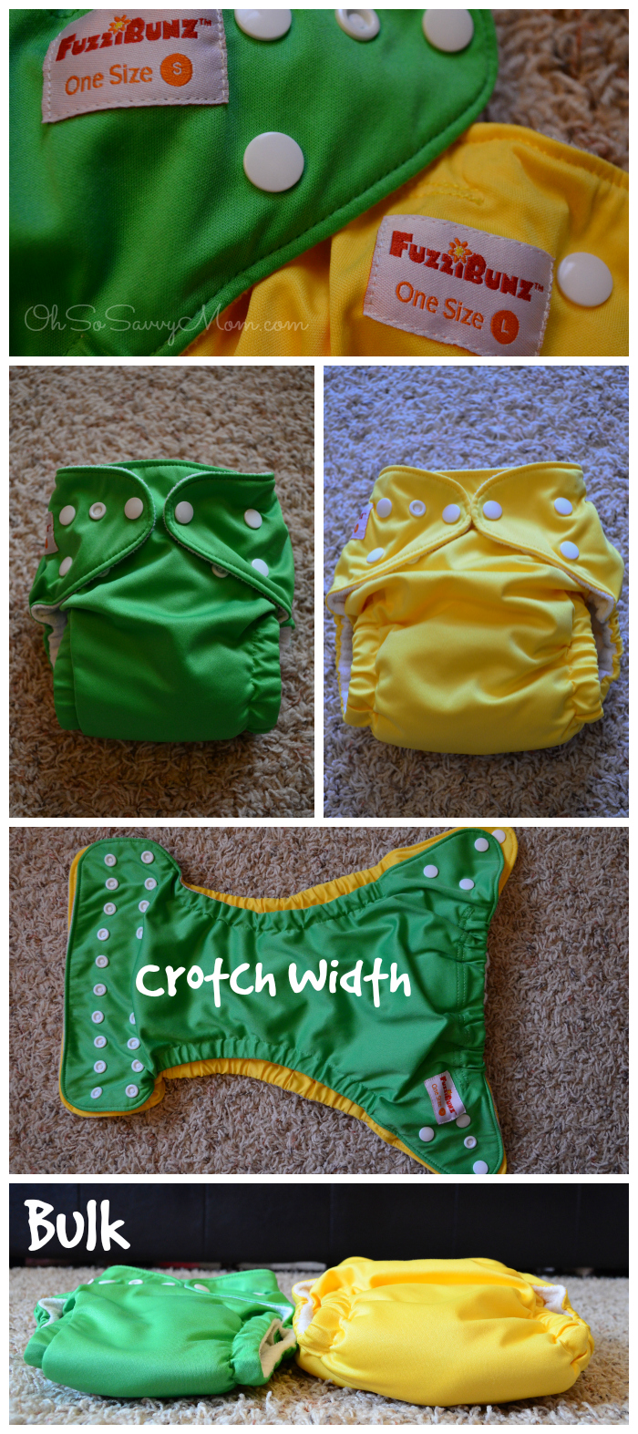 FuzziBunz One-Size Cloth Diaper Small and Large Comparison