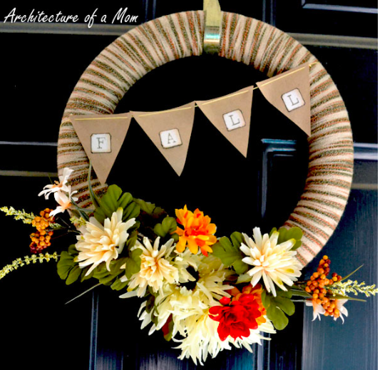 Beautiful DIY Yarn Fall Wreath