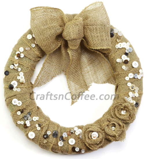 Burlap and button Fall Wreath