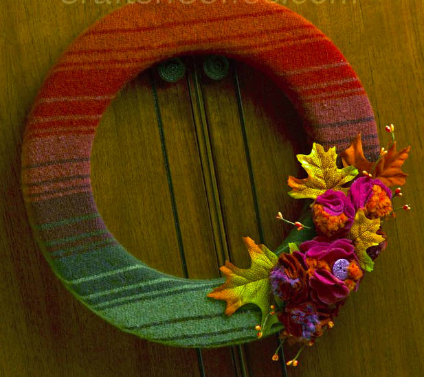 DIY Fall Wreath Idea with an Upcycled Wool Sweater