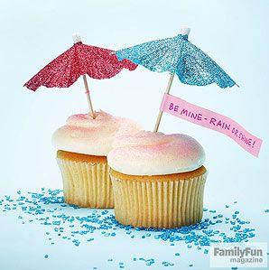 umbrella Valentine's Day Cupcakes