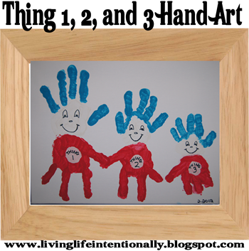 Dr. Seuss Craft - Thing 1 and Thing 2 hand art