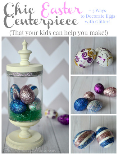 Chic Easter Centerpiece with Glitter Eggs