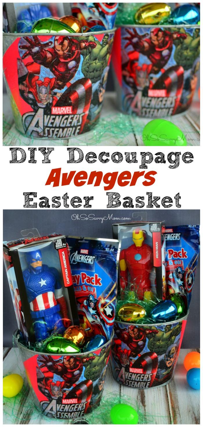 DIY Decoupage Avengers Easter Basket Craft