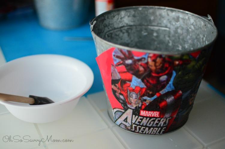DIY Decoupage Avengers Easter Basket