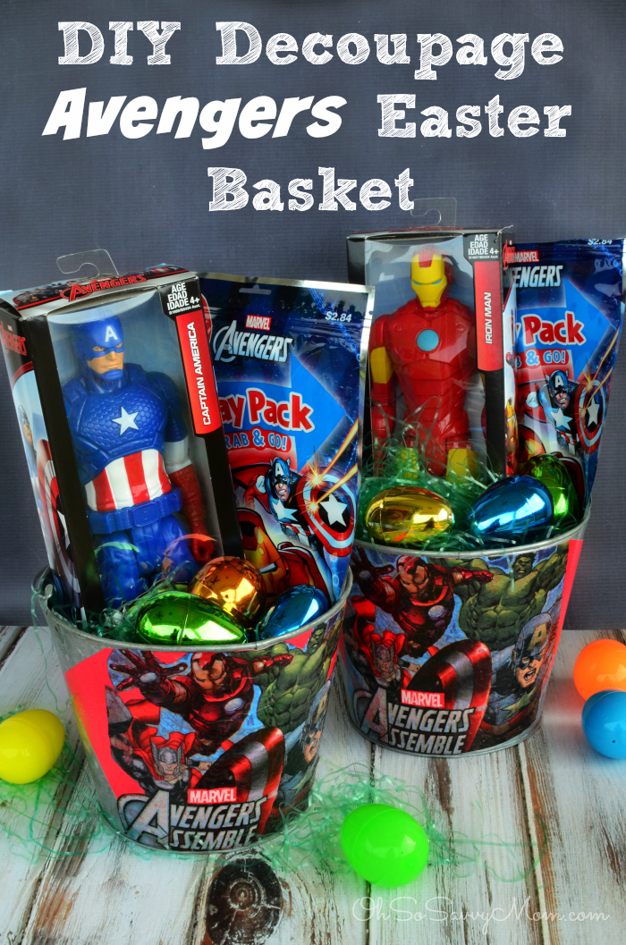 Decoupage diy avengers easter basket disneyeaster oh so savvy mom decoupage diy avengers easter basket negle