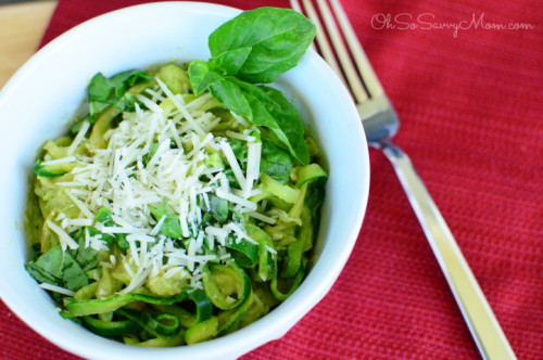 Sautéed Zucchini Noodles with Avocado Pesto Sauce
