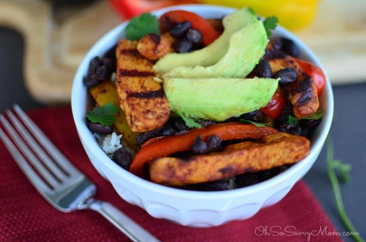 Grilled Chicken Fajita Bowl with Cilantro Lime Rice