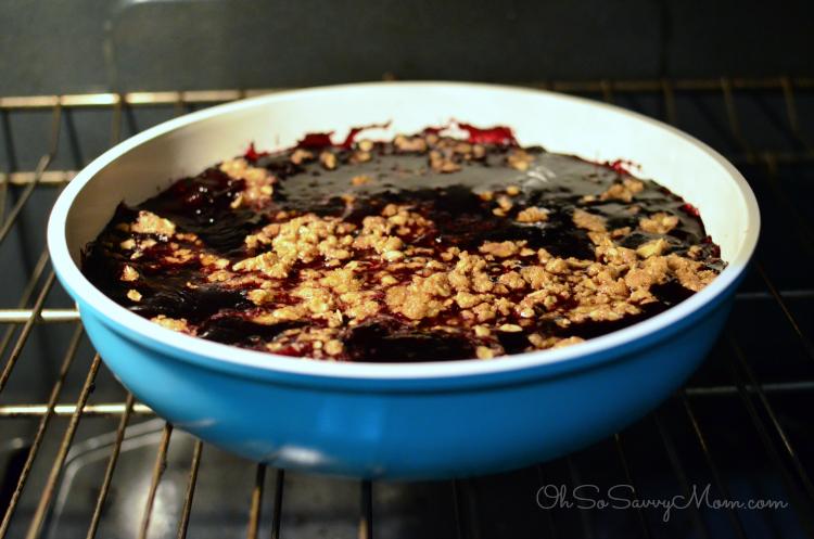 blueberry crisp in the oven
