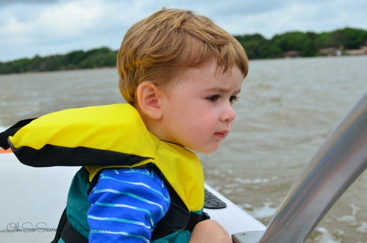 toddler on a boat on Lake Granbury