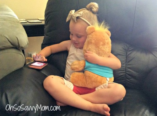 playing with teddy