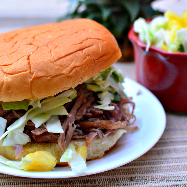 Kalua Pork Burgers with Pineapple Coleslaw