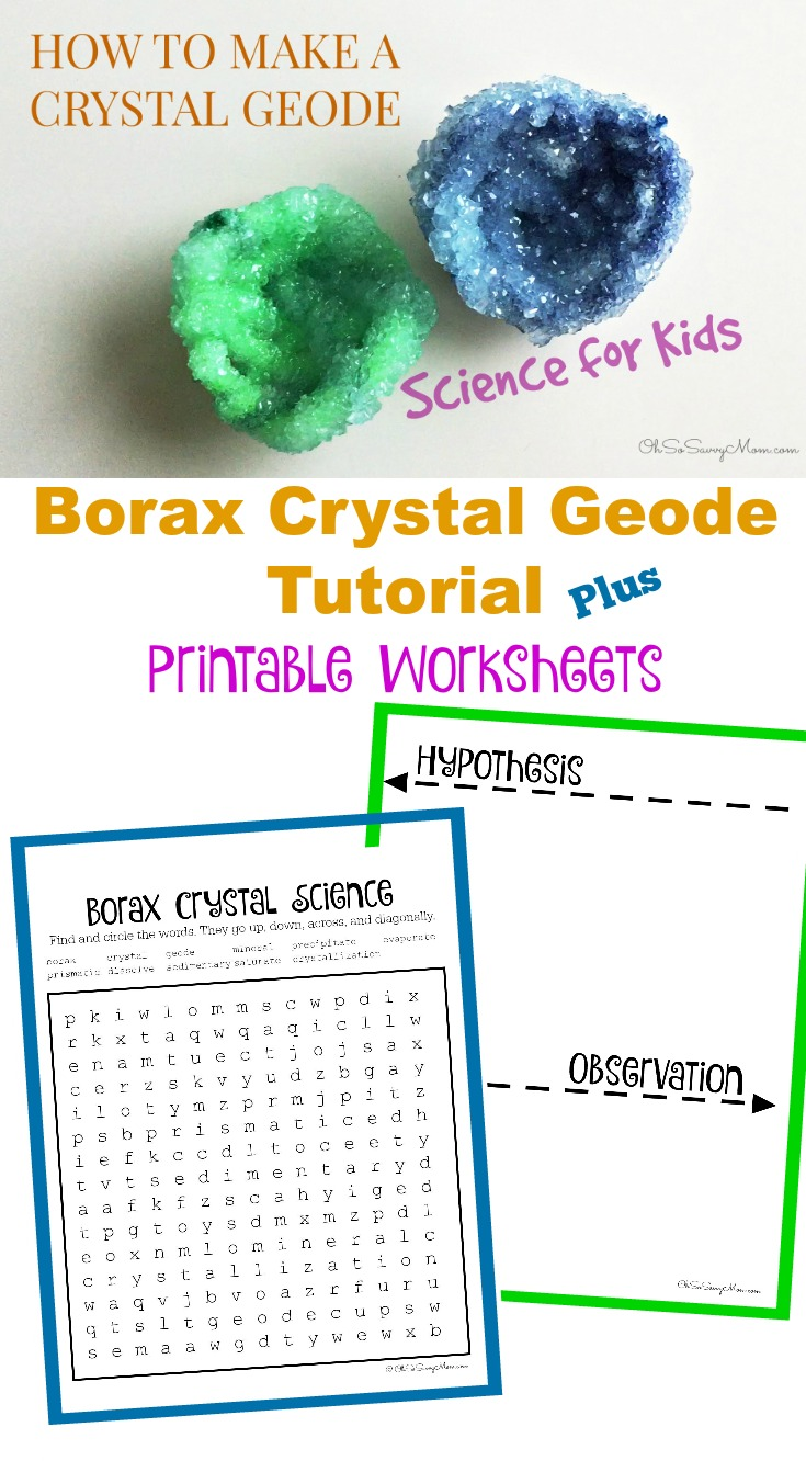Borax Crystal Geode Tutorial Plus Free Printable Worksheets