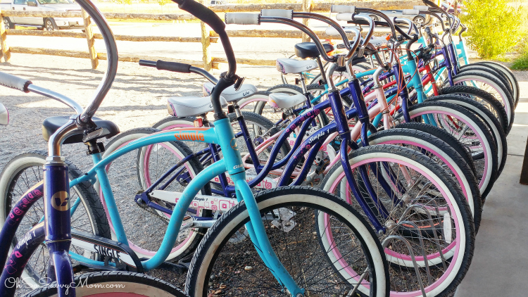 Guest can check out complimentary cruiser bicycles at Conestoga Ranch