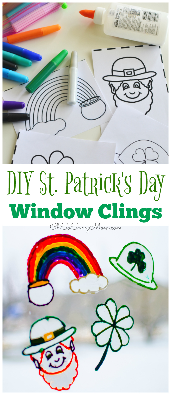 DIY St. Patrick's Day Window Clings Craft